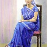 デッサンパステル画 インド婦人 野尻静子 作