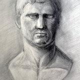 石膏像木炭画 アグリッパ将軍