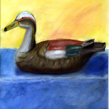 デコイの鳥:水彩画_17歳女の子:制作時高校2年