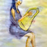 水彩画_竪琴ライアー彈きの女