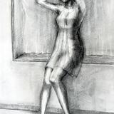 木炭デッサン 窓辺の若い女