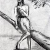 木炭デッサン 海辺の樹に
