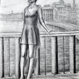 鉛筆デッサン 東欧の橋で