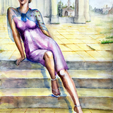水彩画 遺跡の女