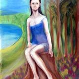 パステル画_湖畔の妖精