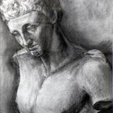 木炭画_石膏像 ヘルメス