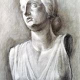 鉛筆画_石膏像ニオベの娘