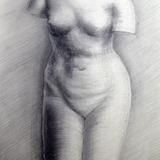 鉛筆画_石膏像 女性トルソ