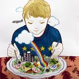 イラストレーション_パスタ を食べる女の子