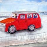赤いバス:水彩画_制作時小学3年男の子