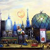 木村 富江 作「夢の中に不思議な街」 アキーラ 油彩