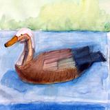 デコイ鴨:水彩画_制作時小学4年女の子