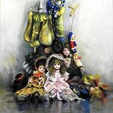佐藤眞知子 作「アトリエの人形達」アキーラ 油彩