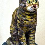 トラ猫:焼き物陶彫_制作時高校3年女の子