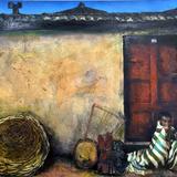 宇野克子 作「アフリカ」油絵 アキーラ