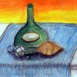 瓶と貝殻 水彩 パステル 淡野 らら 作 :制作時小学6年