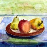 皿の果物 水彩 パステル 池端 和弘 作