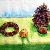 秋の捧げ物 水彩 パステル :間瀬 蛍 作 制作時小学6年生