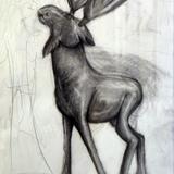 トナカイ木彫 鉛筆 的場 博美 作 制作時小学6年生