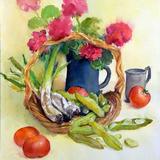 藤村 明子 作 バラとトマト 透明水彩