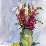 稲庭 維子 作 「カラーと金魚草」透明水彩