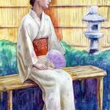 6月6日*人物スケッチ会開催 。初モデルのお嬢さん浴衣で登場。 イメージ